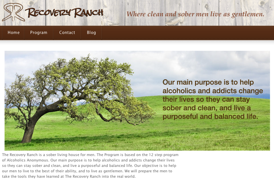 The Recovery Ranch web site homepage