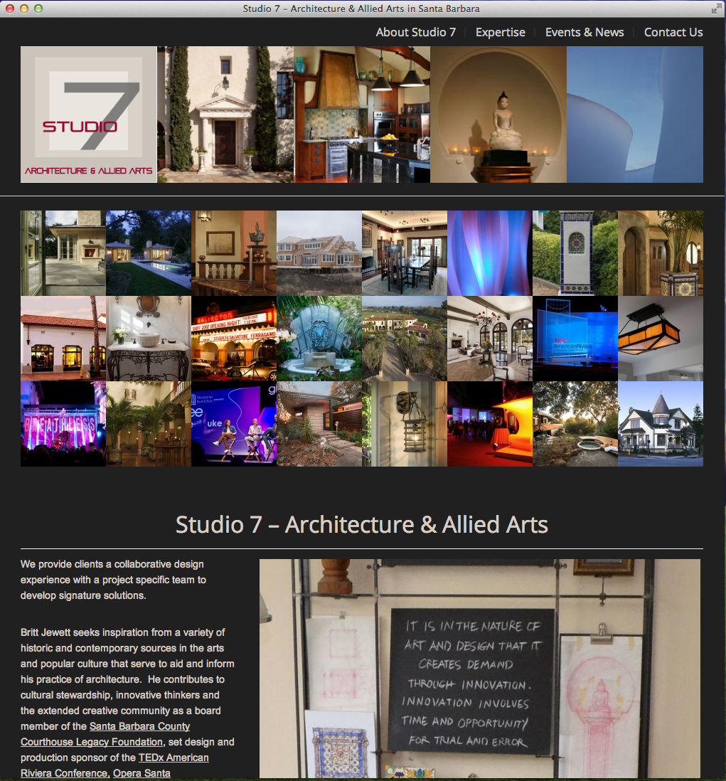 The Studio 7 Architecture & Allied Arts Website Home - Simple, clean, and stunning!