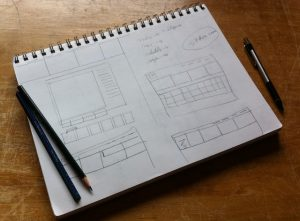 An early wireframe sketch of the Studio 7 site.