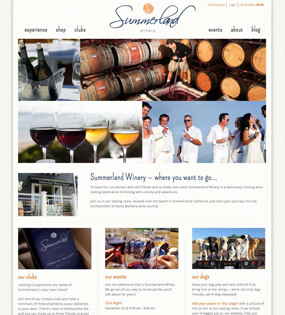 Summerland Winery website homepage